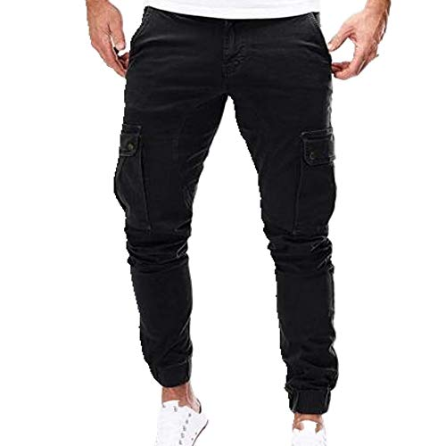 N\P Hombres Gimnasio Pantalones Elásticos Delgado Casual Multi-Bolsillo Largo Deporte Jeans Pantalones de Trabajo Pantalones Sueltos Pantalones Delgados