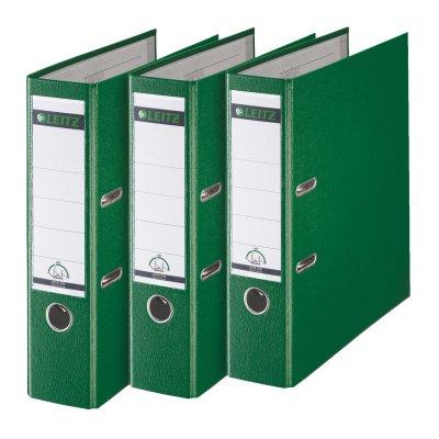 Leitz 310335055 Qualitäts-Ordner Plastik-Cover (A4, 8 cm Rückenbreite, 3er-Pack) grün