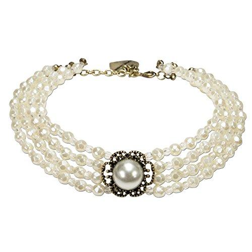 Alpenflüstern Trachten-Perlen-Kropfkette Annie - Elegante Trachtenkette, nostalgischer Damen-Trachtenschmuck Dirndlkette Creme-weiß DHK171