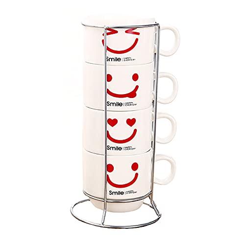 Taza de café de porcelana - Juego de 4 Tazas de café y soporte apilables, Mugs de Agua/Leche (color blanco) para Hogar, Oficina, Fiesta, Regalo para Cumpleaños, Festival (160 ml)
