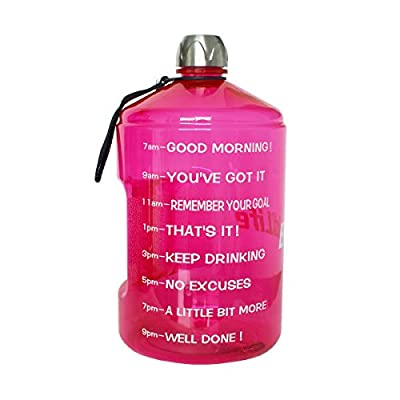BuildLife 73OZ(2.2L) Water Bottle Motivational Fitness Workout with Time Marker/Drink More Daily/Clear BPA Free/Large Capacity Throughout The Day(Pink,73OZ) from Buildlife
