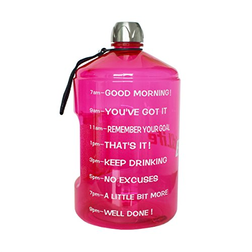 BuildLife 1 Gallon Water Bottle Motivational Fitness Workout with Time Marker Drink More Water Daily Clear BPA-Free Large 128OZ of Water Throughout The Day (1 Gallon-Pink, 1 Gallon)