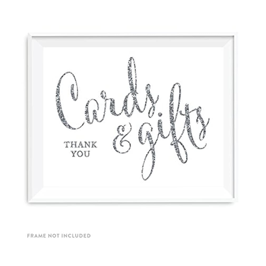 Andaz Press Wedding Party Signs, Silver Glittering, 8.5x11-inch, Cards and Gifts Thank You, 1-Pack, Not Real Glitter