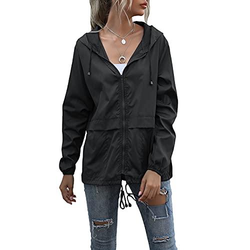 Women Outdoor Waterproof Hooded Raincoat Lightweight Rain Jacket Zipper Open Front Packable Active Rain Jacket Windbreaker (Black , Small )