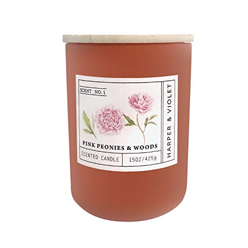 Harper & Violet Premium Floral Collection 2-Wick Candle with Wooden Lid, Pink Peonies & Woods, Decorative Glass Jar, Cotton Wicks, Soy Wax Blend, Clean & Long Burn Time of 75-85 Hours, 15 oz.