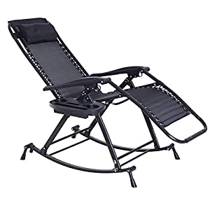 Outsunny Zero Gravity Rocking Chair - Black