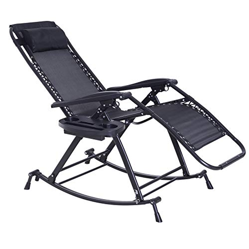 Outsunny Garden Rocking Chair Folding Recliner Outdoor Adjustable Sun Lounger Rocker Zero-Gravity Seat with Headrest Side Holder Patio Deck - Black