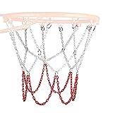 LOVOICE Red de baloncesto, cadena de acero inoxidable trenzada, red de repuesto para canasta de baloncesto, fácil de instalar, artículos deportivos para interiores y exteriores