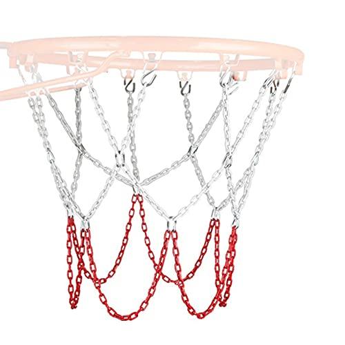 fosilily Basketballnetz,Edelstahl-Basketballnetz,Einfach zu installierende Eisennetzkette,Edelstahlkette geflochten,,Stark und langlebig,Nicht rostend, lichtecht (12 Tasten)