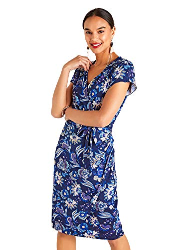 YUMI Vrouwen Jurk Indian Flower Print Jersey Wrap Dress