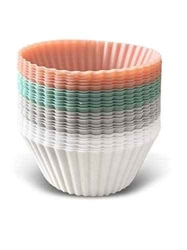 The Kind Home Silicone Baking Cups Pack of 24 Reusable Non-Stick Cupcake and Muffin Liners Molds