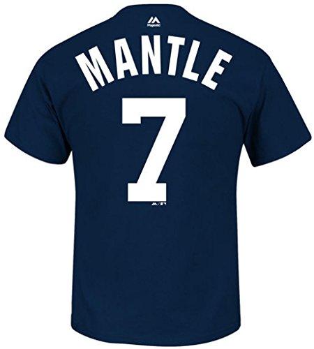 Mickey Mantle New York Yankees #7 T-Shirt mit Namen und Zahlen, Jungen, Navy, Large