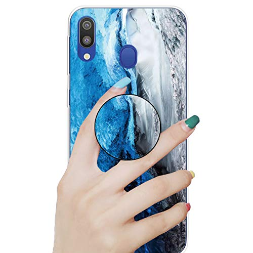 Nadoli Marmor Hülle für Galaxy A20/30,Prämie Glatt Flexibel Weich Bunt Marmor Muster Ultra Dünn Gummi Silikon Handyhülle Schutzhülle mit Ständer für Samsung Galaxy A20/30
