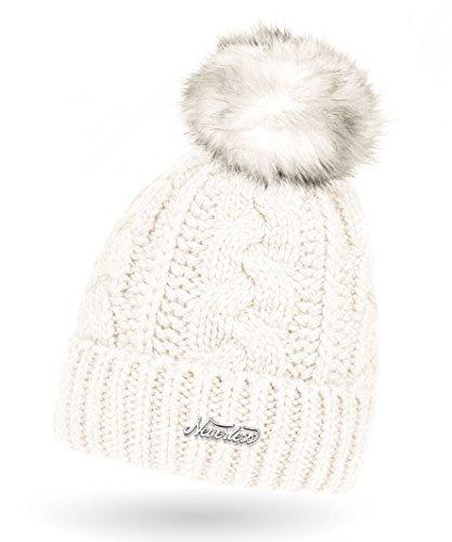 Neverless Damen Strick-Mütze gefüttert mit Fell-Bommel, Kunstfell, Winter-Mütze, Bommelmütze, Creme Unisize