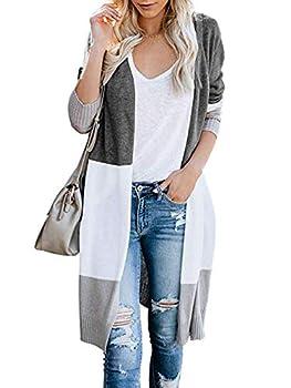 KIRUNDO Women's Open Front Long Cardigan Strip Color Block Long Sleeves Lightweight Knit Fall Outwear Sweater Coats  Large 955-Grey