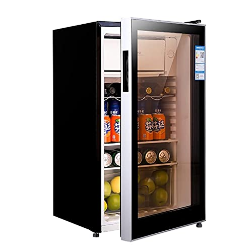 Bodega de Vino Independiente, Barra de Hielo congelador de 100L, Hogar Pequeño refrigerador de una Sola Puerta, Gabinete de Vino de Vidrio Transparente Templado