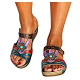 HonpraD Ethnic Style Women's Sandals Bohemian Open Toe Casual Beach Shoes Wedges Slippers Shoe (6.5/7, Blue)