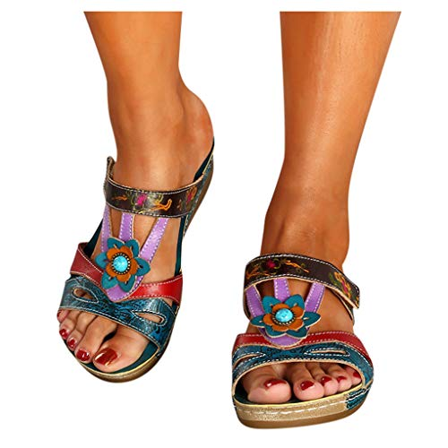 HonpraD Ethnic Style Women's Sandals Bohemian Open Toe Casual Beach Shoes Wedges Slippers Shoe (10.5, Blue)