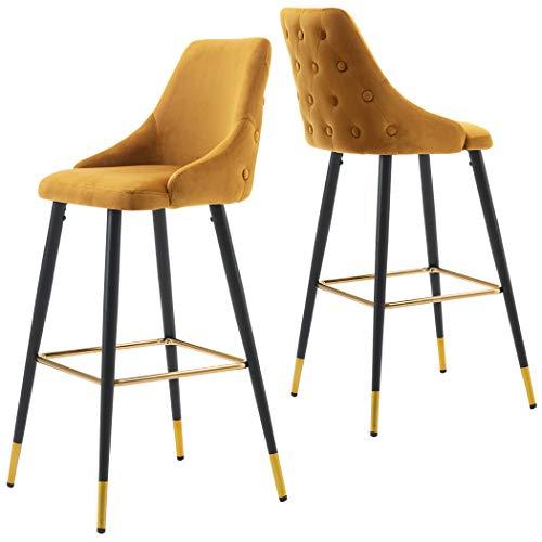 2x Sgabelli da bar tessuto (velluto) quadrato con schienale piedini in metallo selezione colore Duhome 5170G, colore:giallo, materiale:velluto