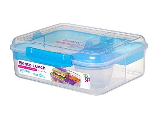 Sistema Bento Lunchbox to Go mit Fruit/Joghurt Topf, transparent/blau, 1,65Liter