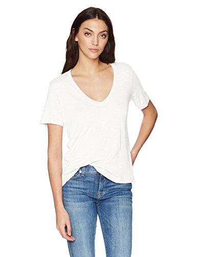 Splendid Women's Short-Sleeve V-Neck Tee T-Shirt, Basic White, Medium