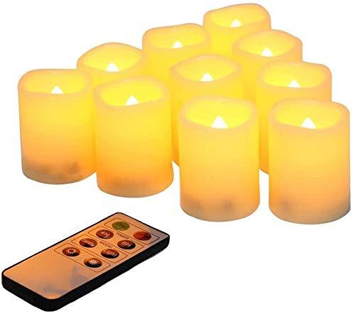 LED que parpadean sin llama votivas del té enciende velas con la batería del mando a distancia Operado conjunto de 10 / eléctrico al aire libre Candelitas temporizador vela for la Navidad, decoracione