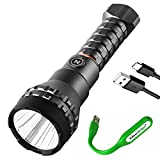 NEBO Luxtreme half a mile beam USB-C Rechargeable LED long throw flashlight, with rechargeable battery and EdisonBright USB reading light Bundle