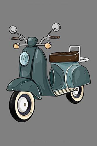 Notizbuch, 120 Seiten: Motorroller mit Sitzbank - Moped Notizbuch - Tagebuch - Skizzenbuch - Schulheft für Frauen und Männer oder Kinder ( Mädchen / Jungen ) - Weißes Papier - 6x9 Zoll - Punktraster