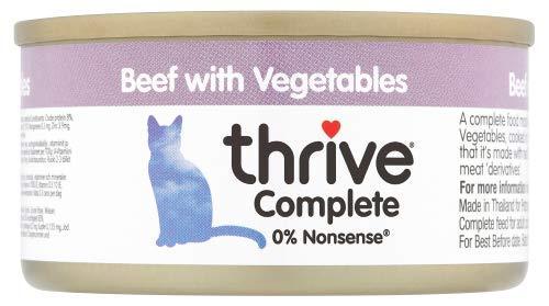 thrive Katze Complete - 100% Katzenvollnahrung Rind mit Gemüse (12-er Pack)
