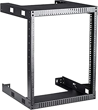 Kenuco Black 12U Wall Mount Open Frame Steel Network Equipment Rack 17.75 Inch Deep - Black - 12U Deep - W19   x D17.75   x H24.5    REG-12U