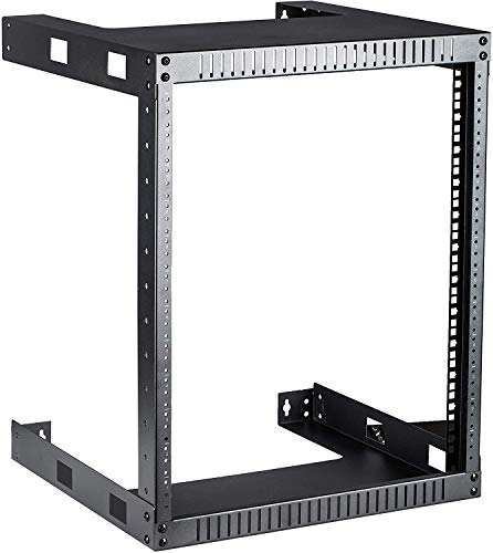 Kenuco Black 12U Wall Mount Open Frame Steel Network Equipment Rack 17.75 Inch Deep - Black - 12U Deep - W19'' x D17.75'' x H24.5'' (REG-12U)