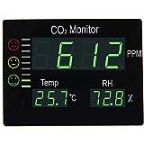 Seben HT-2008 medidor de CO2 semáforo Ambiente con Pantalla LED XL para la medición del Aire Interior de dióxido de Carbono, Humedad y Temperatura