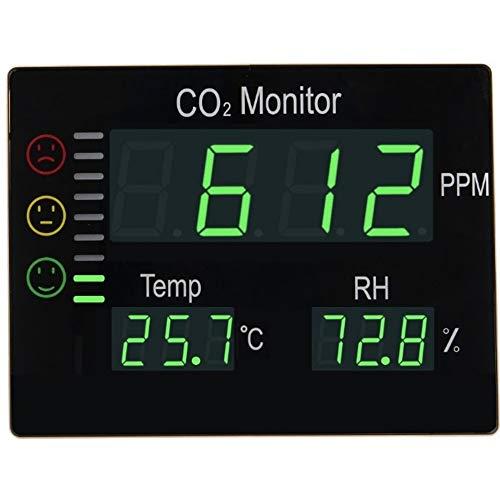 Seben HT-2008 CO2 Messgerät Ampel mit XL LED-Display für Raumluft Messung - Kohlenstoffdioxid Warnmelder, Anzeige von Luftfeuchtigkeit und Temperatur