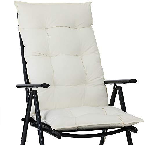 Detex Stuhlauflage 129 x 53 cm Viskoeffekt Indoor Outdoor Stuhlkissen Polsterauflage Hochlehner Sitzauflage Creme