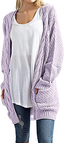 Imily Bela Women's Boho Long Sleeve Open Front Chunky Warm Cardigans Pointelle Pullover Sweater Blouses (Small, Purple)