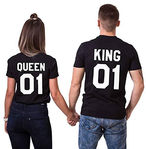 Double Fashion T-Shirt King Queen Pair Set 2 Matching Couple Valentine Birthday Wedding (Black+Black, King-L+Queen-M)