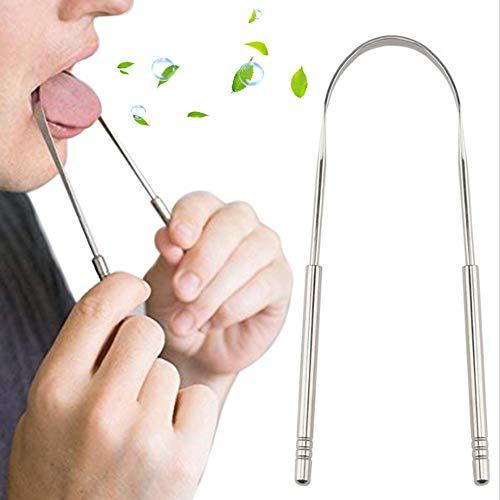 Nuluxi RVS tongreiniger tongenreiniger tegen mondgeur reiniger bacteriën tongschraper niet giftig en steriliseerbaar doeltreffend tegen mondgeur bevordering van de mondgezondheid (3 stuks)