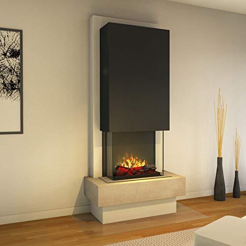 Muenkel Design Milano - Opti-Myst elektrische haard haard haard - zonder verwarming - natuursteen blanco leisteen beige - rookvanger zwart-grijs