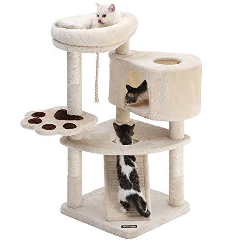 FEANDREA キャットタワー スロープ付き 登り降りしやすい 爪とぎ 猫タワー 子猫とシニアも楽々 95cm NPCT40M