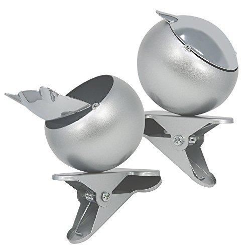 com-four® 2 geschlossene Aschenbecher aus Metall mit Klemme zum Befestigen, für den Innen- und Außenbereich (02 Stück)