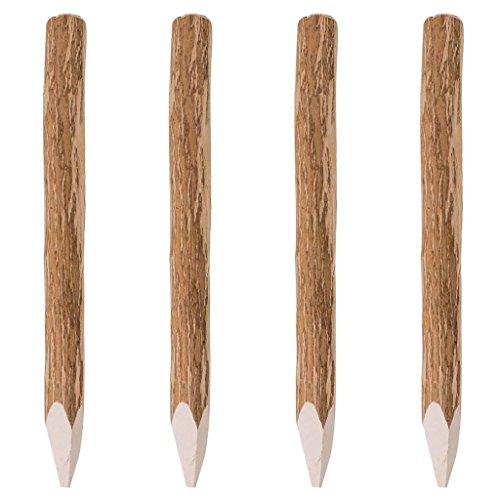 Festnight Angespitzter Zaunpfahl Holzpfosten Pfahl aus Holz 4 STK. Haselnussholz 90 cm