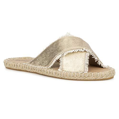 Olivia Miller Fringe Metallic Slide Sandals Gold 7