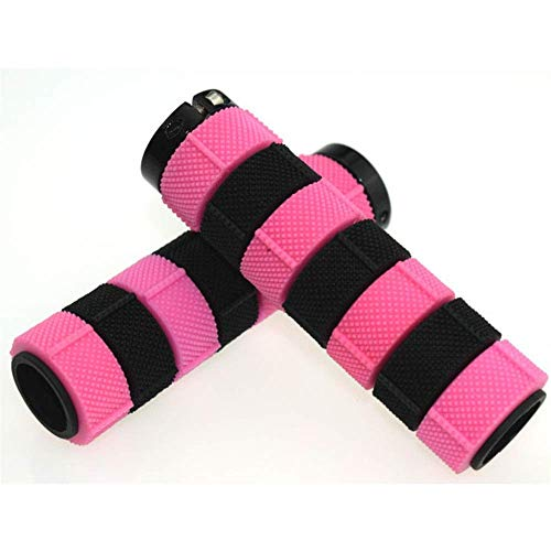 Bike Handlebar Grips Bike Handlebar Grips,Lock-on Bicycle Grips Handle Bar End Holding Locking Grips,for MTB Mountain Downhill Folding LINGGE (Color : Pink, Size : Free size)