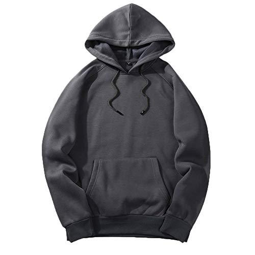 MRULIC Herren Basic Kapuzenpullover Sweatjacke Einfarbig Pullover Hoodie Sweatshirt RH-001(Dunkelgrau,EU-46/CN-L)