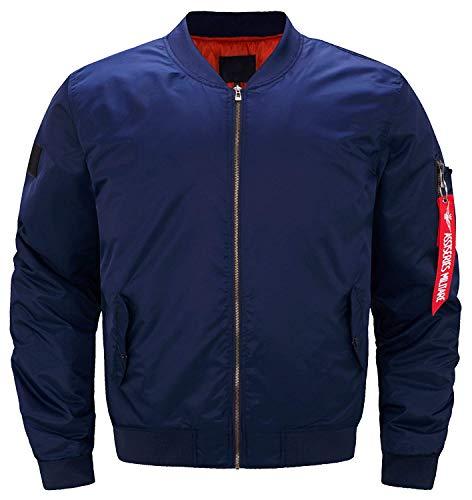HaiDean Classic Us Air Force Air Bomber Moderne nonchalante jas, super gewatteerde mantel lange mouwen knopen met opstaande kraag mantel Coat