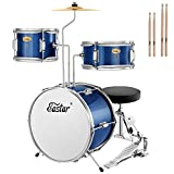 Eastar 14 inch Kids Drum Set Real 3 Pieces with Throne, Cymbal, Pedal & Drumsticks, Metallic Sea Blue (EDS-180SeaB)