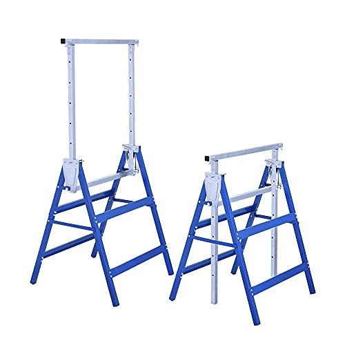 Set 2 Cavalletti da Lavoro Telescopici Pieghevoli e Regolabili in Altezza in Acciaio 68x56x130cm Max 200kg (L68xP56xH130cm, blu)