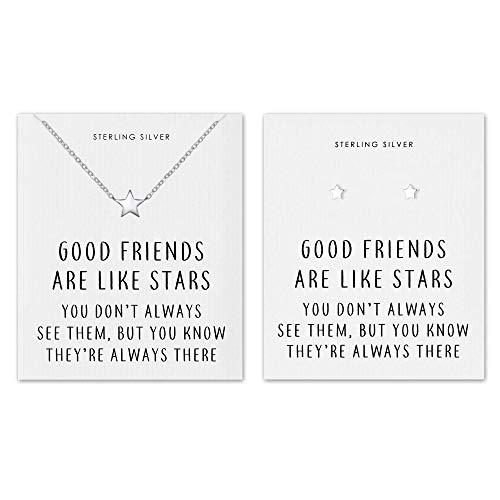 Philip Jones Sterling Silver Friendship Quote Star Set