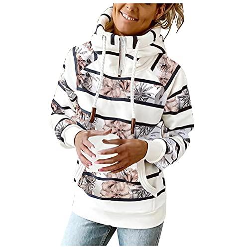 Briskorry Sudadera de manga larga con capucha para mujer, estampado de rayas, para invierno, informal, para otoño, manga larga, blusa con capucha, Blanco 9, XXL