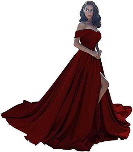 Prom Dresses Off Shoulder High Split Dresses for Women Long Simple A-Line Formal Dresses 2021 Burgundy